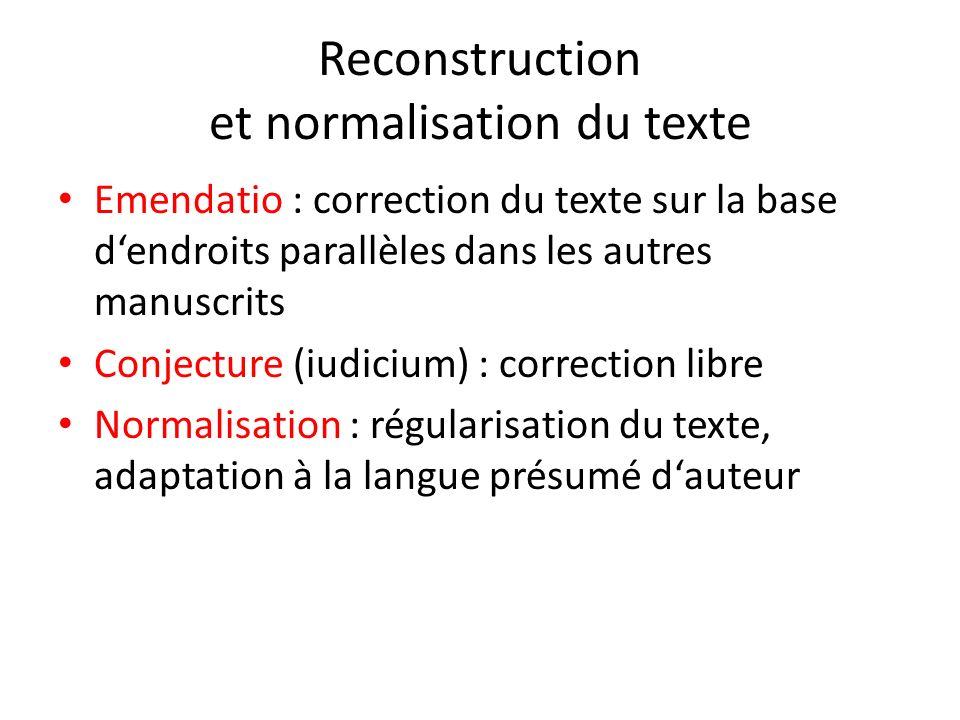 Reconstruction et normalisation du texte Emendatio : correction du texte sur la base dendroits parallèles dans les autres manuscrits Conjecture (iudic