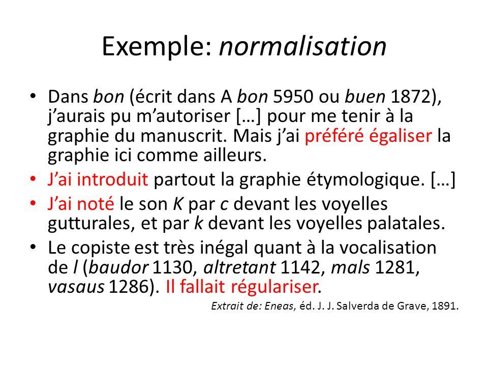 Exemple: normalisation Dans bon (écrit dans A bon 5950 ou buen 1872), jaurais pu mautoriser […] pour me tenir à la graphie du manuscrit. Mais jai préf