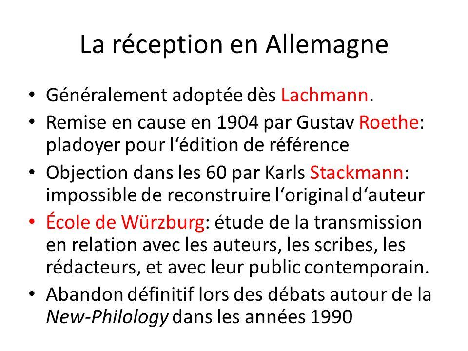 La réception en Allemagne Généralement adoptée dès Lachmann. Remise en cause en 1904 par Gustav Roethe: pladoyer pour lédition de référence Objection
