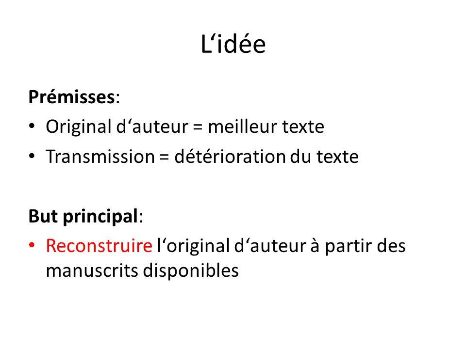Lidée Prémisses: Original dauteur = meilleur texte Transmission = détérioration du texte But principal: Reconstruire loriginal dauteur à partir des ma