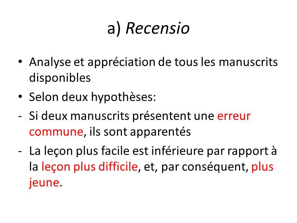 a) Recensio Analyse et appréciation de tous les manuscrits disponibles Selon deux hypothèses: -Si deux manuscrits présentent une erreur commune, ils s