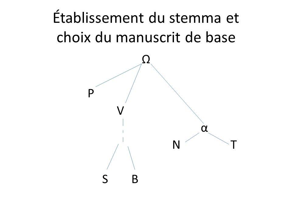 Établissement du stemma et choix du manuscrit de base Ω P V α N T SB