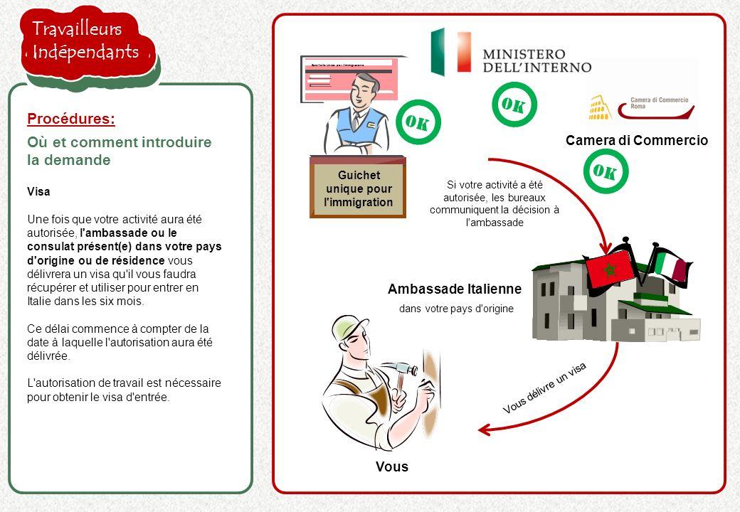 la proposition de l employeur est acceptée Visa Une fois que votre activité aura été autorisée, l ambassade ou le consulat présent(e) dans votre pays d origine ou de résidence vous délivrera un visa qu il vous faudra récupérer et utiliser pour entrer en Italie dans les six mois.
