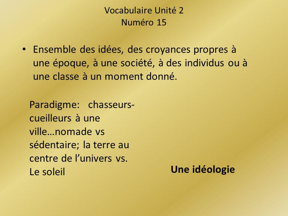 Vocabulaire Unité 2 Numéro 15 Ensemble des idées, des croyances propres à une époque, à une société, à des individus ou à une classe à un moment donné.