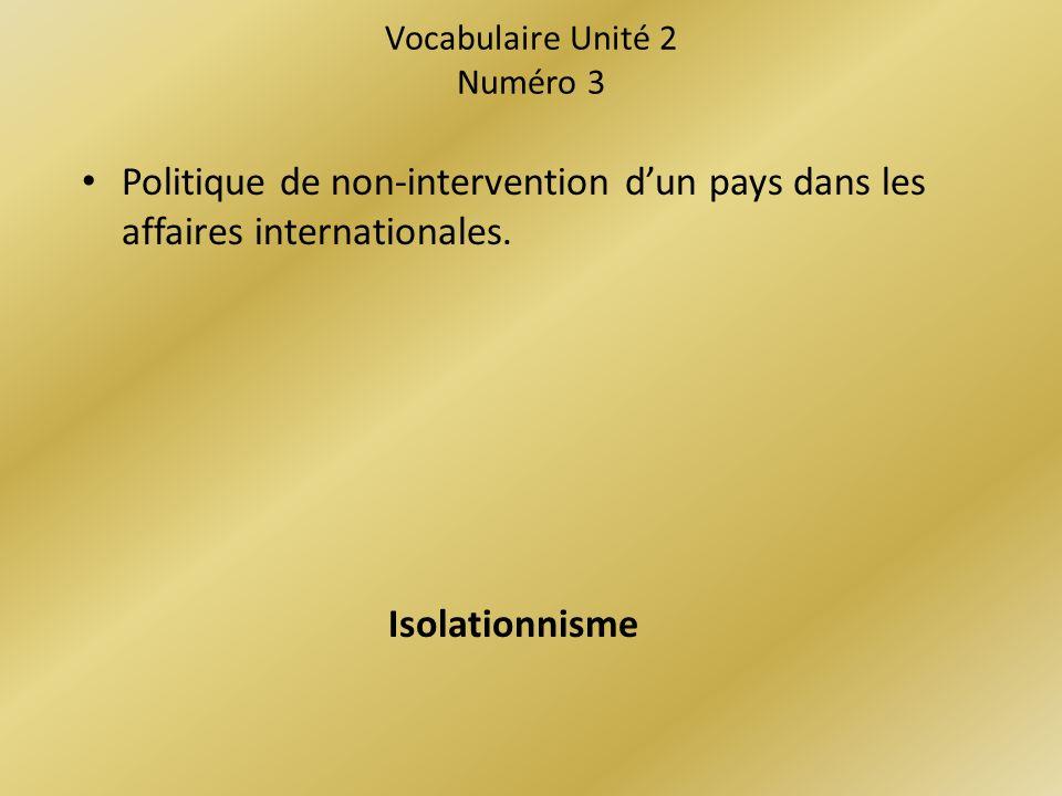 Vocabulaire Unité 2 Numéro 3 Politique de non-intervention dun pays dans les affaires internationales.