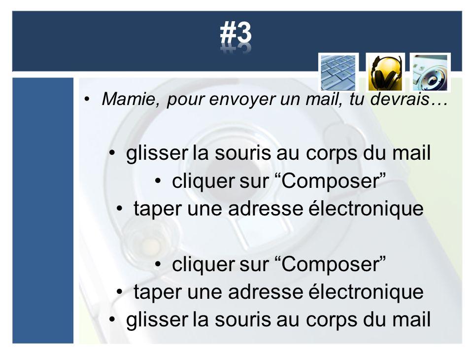 Mamie, pour envoyer un mail, tu devrais… glisser la souris au corps du mail cliquer sur Composer taper une adresse électronique cliquer sur Composer t