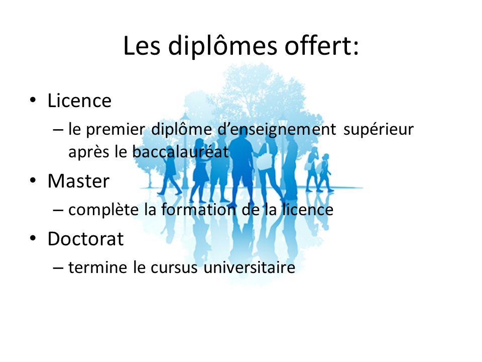 Les diplômes offert: Licence – le premier diplôme denseignement supérieur après le baccalauréat Master – complète la formation de la licence Doctorat – termine le cursus universitaire