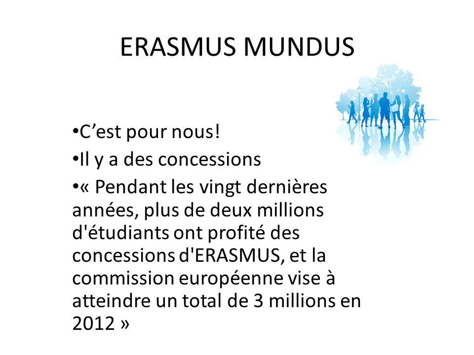 ERASMUS MUNDUS Cest pour nous.