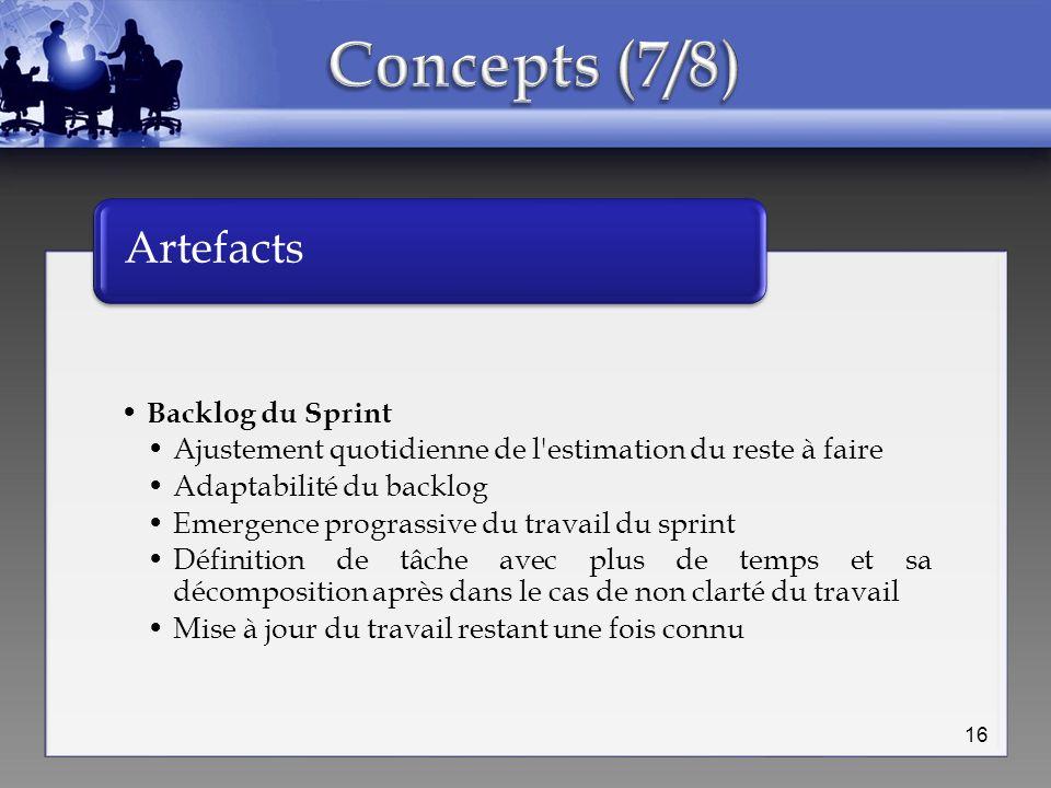 Backlog du Sprint Ajustement quotidienne de l'estimation du reste à faire Adaptabilité du backlog Emergence prograssive du travail du sprint Définitio