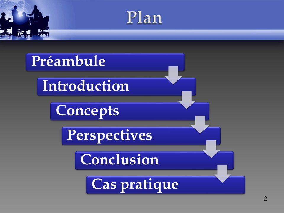 Préambule Introduction Concepts Perspectives Conclusion 2 Cas pratique