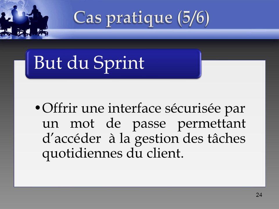 Offrir une interface sécurisée par un mot de passe permettant daccéder à la gestion des tâches quotidiennes du client. But du Sprint 24