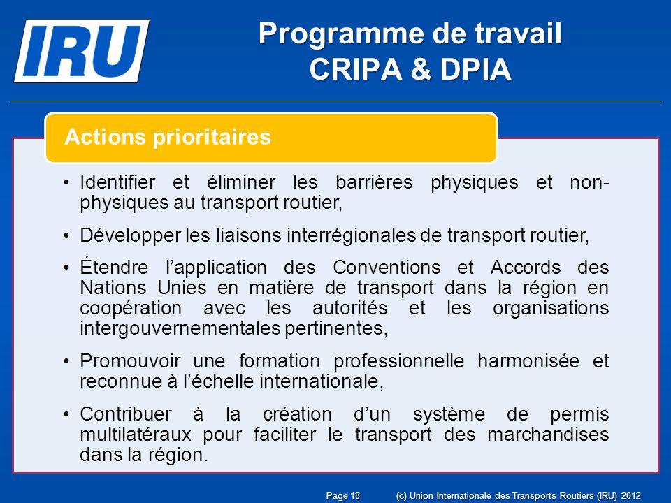 Page 18(c) Union Internationale des Transports Routiers (IRU) 2012 Identifier et éliminer les barrières physiques et non- physiques au transport routier, Développer les liaisons interrégionales de transport routier, Étendre lapplication des Conventions et Accords des Nations Unies en matière de transport dans la région en coopération avec les autorités et les organisations intergouvernementales pertinentes, Promouvoir une formation professionnelle harmonisée et reconnue à léchelle internationale, Contribuer à la création dun système de permis multilatéraux pour faciliter le transport des marchandises dans la région.