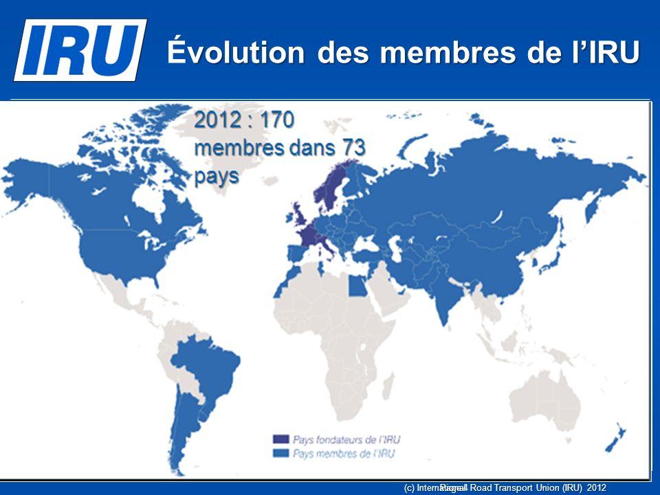 Page 4(c) International Road Transport Union (IRU) 2012 1948 : huit pays fondateurs volution des membres de lIRU Évolution des membres de lIRU