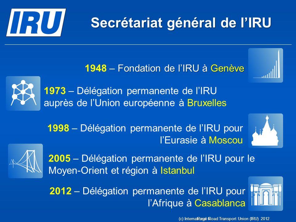 Secrétariat général de lIRU (c) International Road Transport Union (IRU) 2012Page 6 Fondation de lIRU à Genève 1948 – Fondation de lIRU à Genève 1973