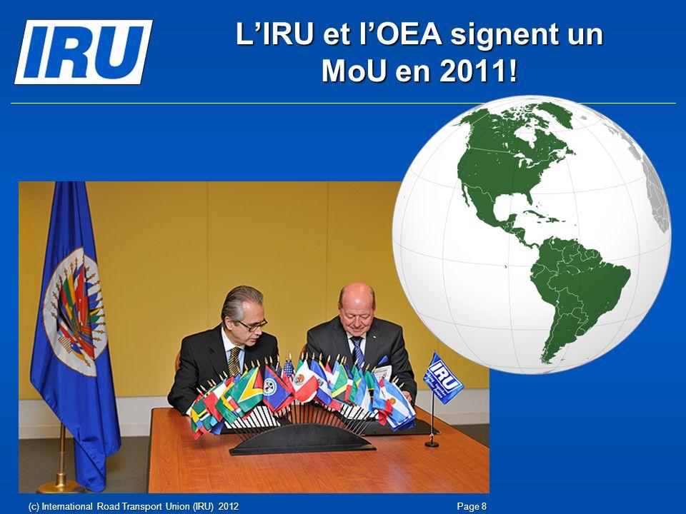LIRU et lOEA signent un MoU en 2011! Page 8