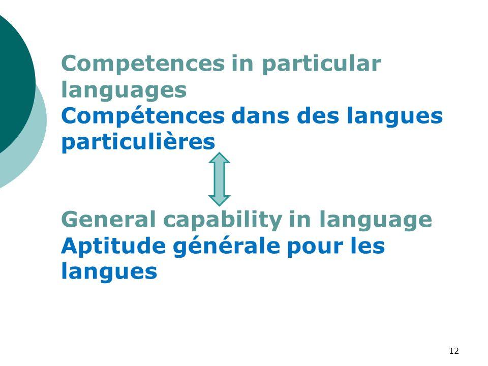 Competences in particular languages Compétences dans des langues particulières General capability in language Aptitude générale pour les langues 12