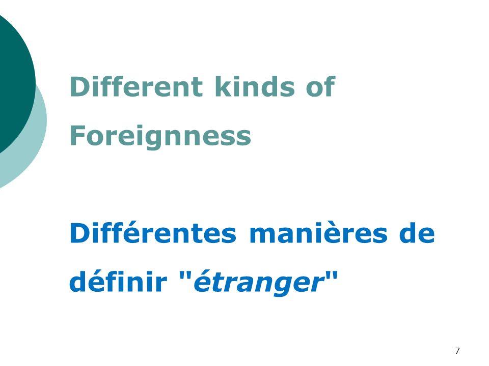 Different kinds of Foreignness Différentes manières de définir étranger 7