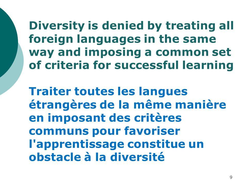 Diversity is denied by treating all foreign languages in the same way and imposing a common set of criteria for successful learning Traiter toutes les langues étrangères de la même manière en imposant des critères communs pour favoriser l apprentissage constitue un obstacle à la diversité 9