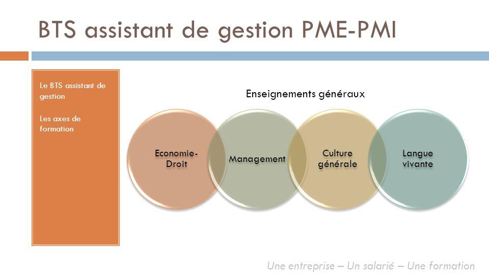 BTS assistant de gestion PME-PMI Le BTS assistant de gestion Les axes de formation Economie- Droit Management Culture générale Langue vivante Enseigne