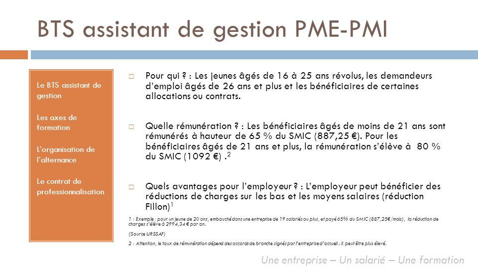 BTS assistant de gestion PME-PMI Le BTS assistant de gestion Les axes de formation Lorganisation de lalternance Le contrat de professionnalisation Pou