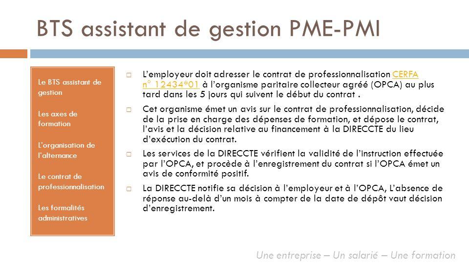BTS assistant de gestion PME-PMI Le BTS assistant de gestion Les axes de formation Lorganisation de lalternance Le contrat de professionnalisation Les