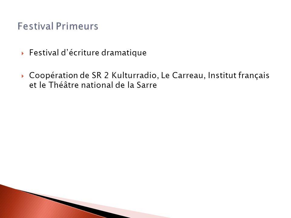 Festival décriture dramatique Coopération de SR 2 Kulturradio, Le Carreau, Institut français et le Théâtre national de la Sarre