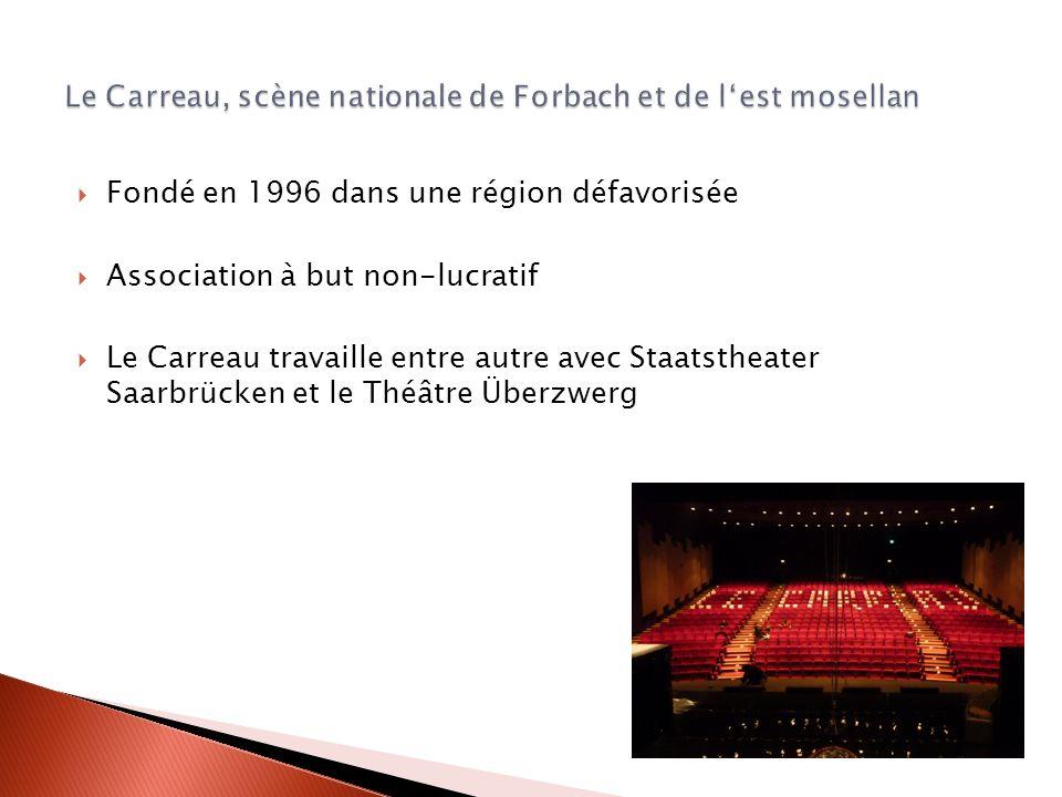 Fondé en 1996 dans une région défavorisée Association à but non-lucratif Le Carreau travaille entre autre avec Staatstheater Saarbrücken et le Théâtre