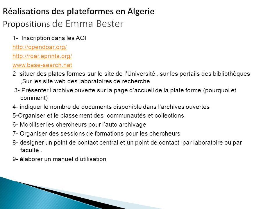 1- Inscription dans les AOI http://opendoar.org/ http://roar.eprints.org/ www.base-search.net 2- situer des plates formes sur le site de lUniversité,