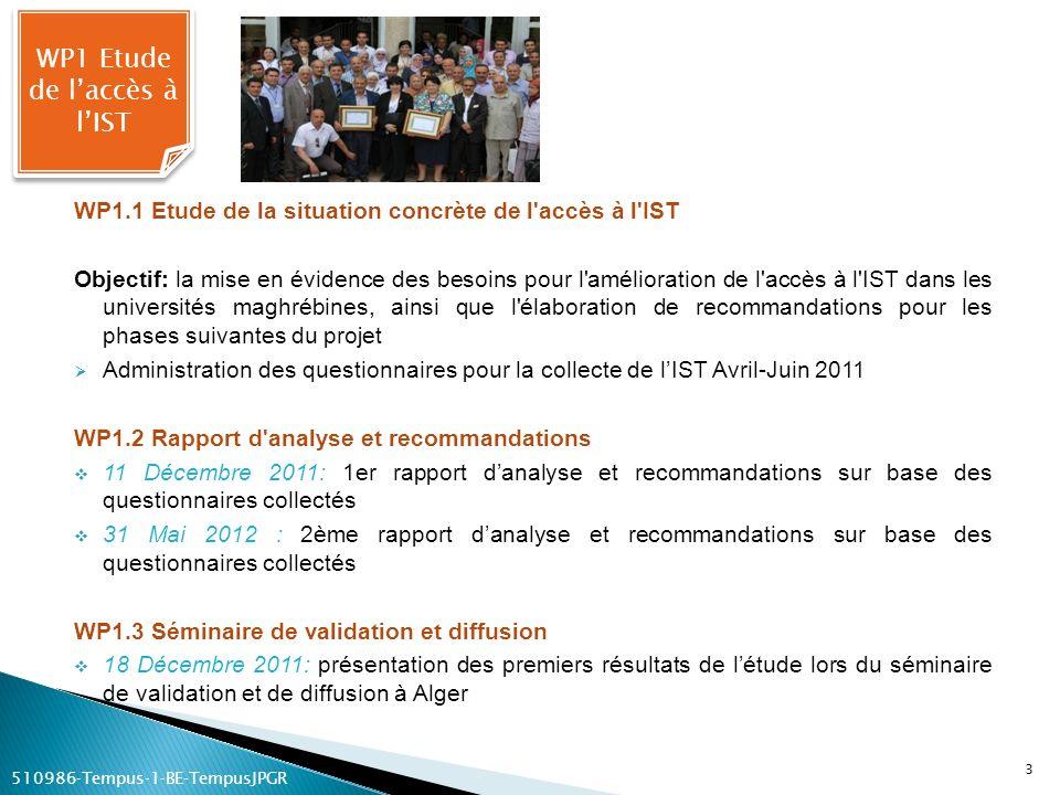 WP1.1 Etude de la situation concrète de l'accès à l'IST Objectif: la mise en évidence des besoins pour l'amélioration de l'accès à l'IST dans les univ