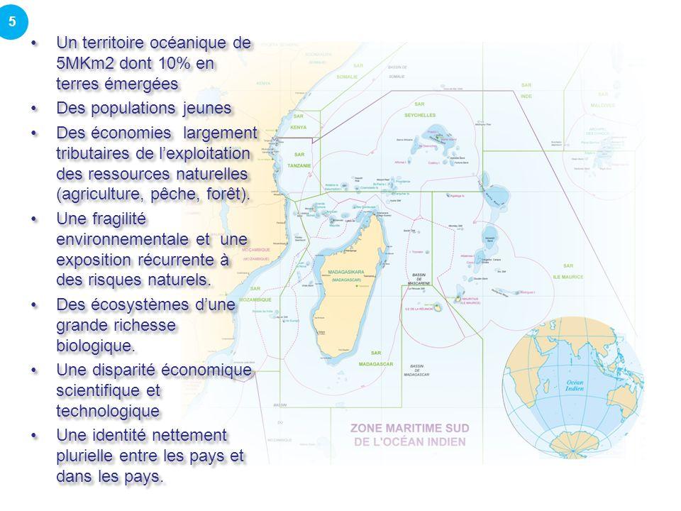 Un territoire océanique de 5MKm2 dont 10% en terres émergées Des populations jeunes Des économies largement tributaires de lexploitation des ressources naturelles (agriculture, pêche, forêt).