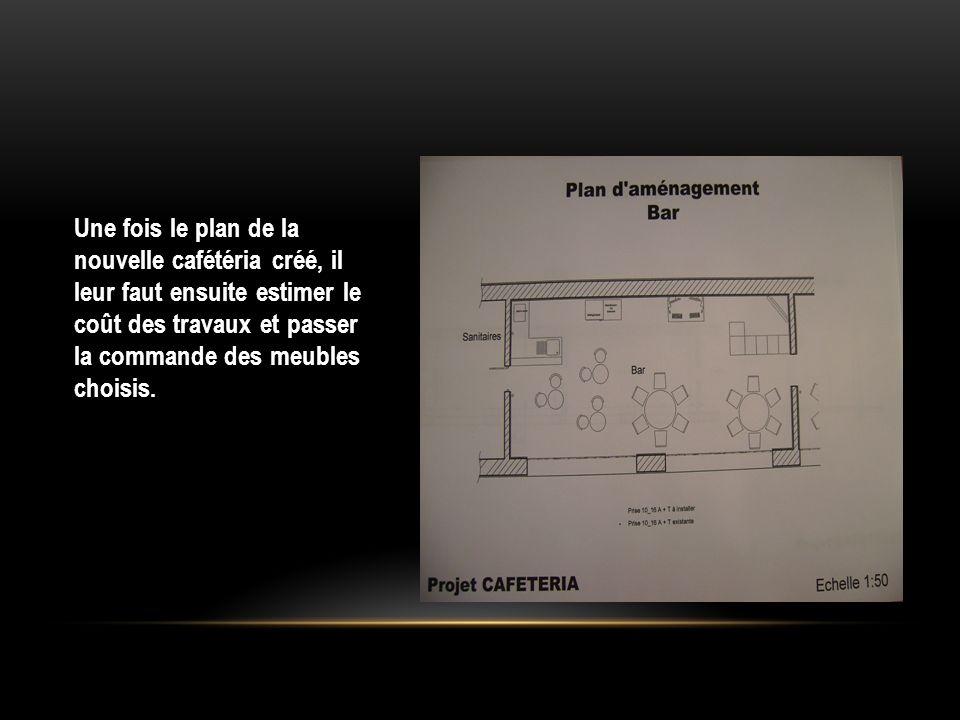 Une fois le plan de la nouvelle cafétéria créé, il leur faut ensuite estimer le coût des travaux et passer la commande des meubles choisis.