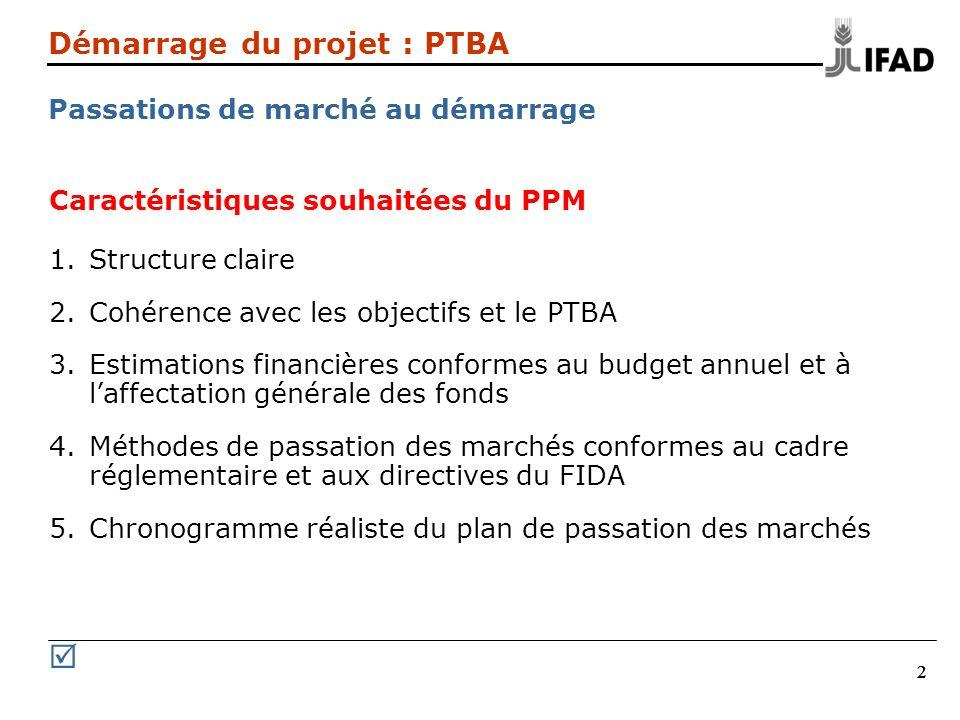 222 Démarrage du projet : PTBA Passations de marché au démarrage Caractéristiques souhaitées du PPM 1.Structure claire 2.Cohérence avec les objectifs
