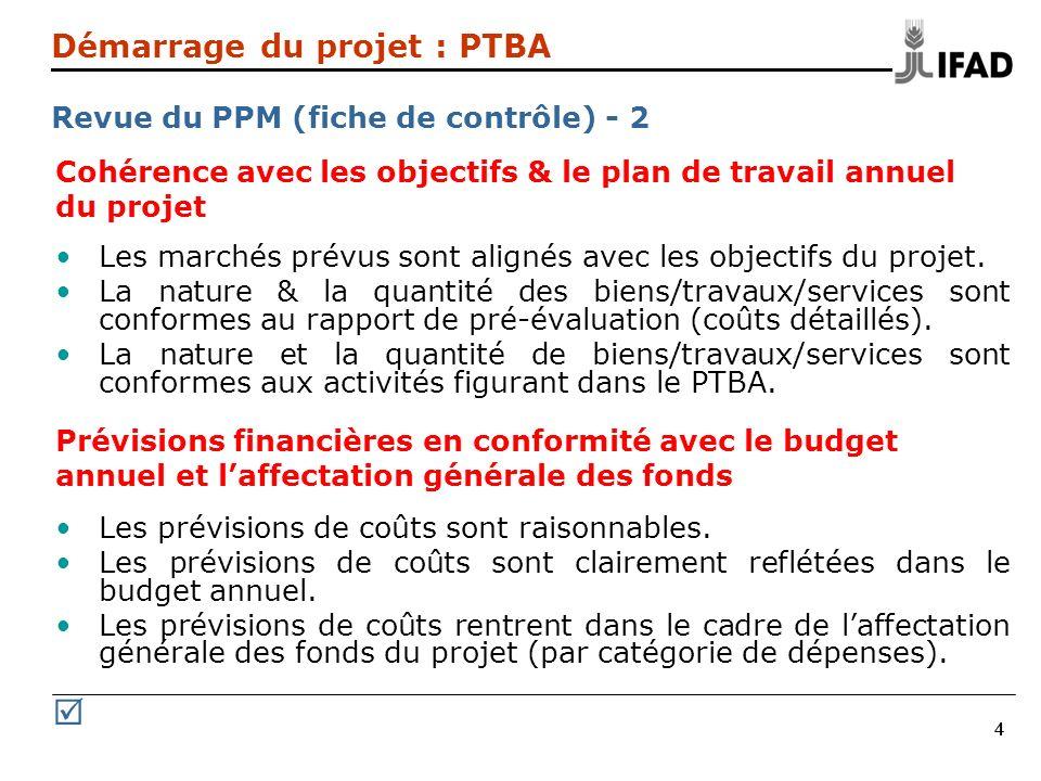 444 Cohérence avec les objectifs & le plan de travail annuel du projet Les marchés prévus sont alignés avec les objectifs du projet. La nature & la qu