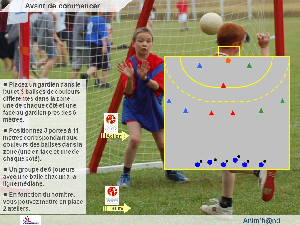 Animh@nd Placez un gardien dans le but et 3 balises de couleurs différentes dans la zone : une de chaque côté et une face au gardien près des 6 mètres.