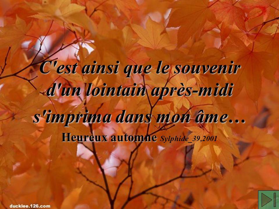 C est ainsi que le souvenir d un lointain après-midi s imprima dans mon âme… Heureux automne C est ainsi que le souvenir d un lointain après-midi s imprima dans mon âme… Heureux automne Sylphide_39,2001