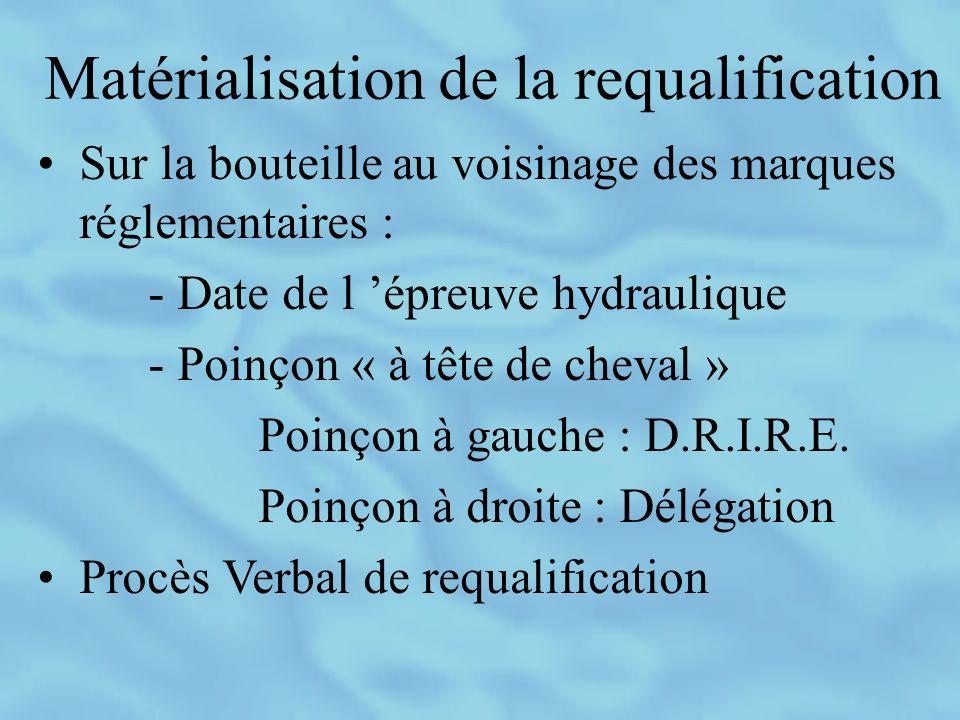 Matérialisation de la requalification Sur la bouteille au voisinage des marques réglementaires : - Date de l épreuve hydraulique - Poinçon « à tête de cheval » Poinçon à gauche : D.R.I.R.E.