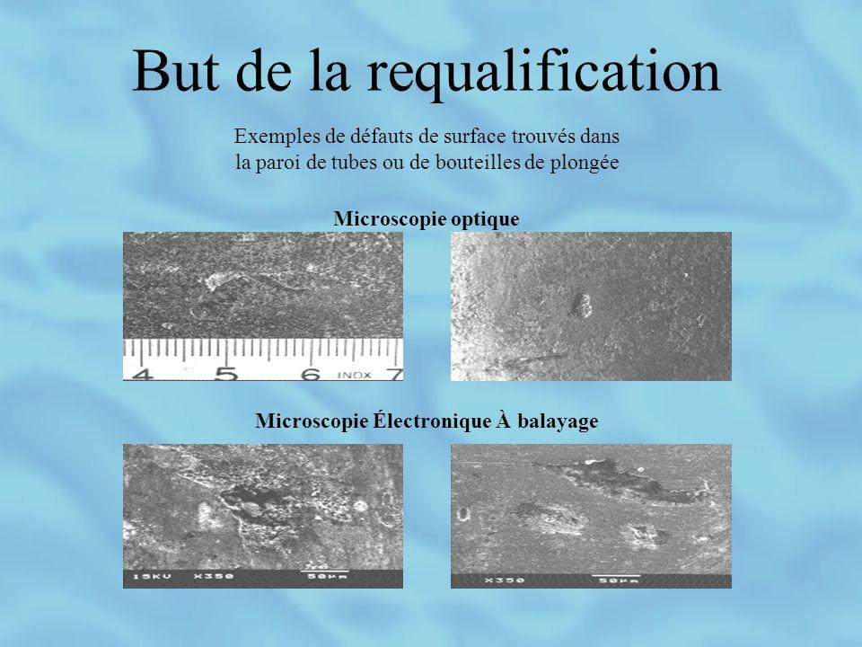 But de la requalification Exemples de défauts de surface trouvés dans la paroi de tubes ou de bouteilles de plongée Microscopie optique Microscopie Électronique À balayage