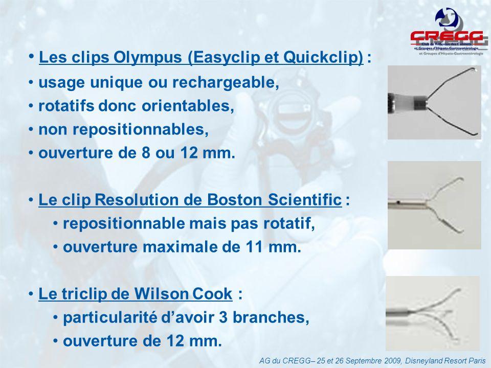 Les clips Olympus (Easyclip et Quickclip) : usage unique ou rechargeable, rotatifs donc orientables, non repositionnables, ouverture de 8 ou 12 mm.