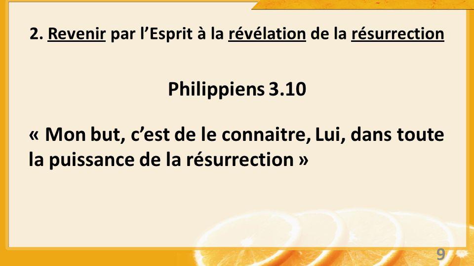 Philippiens 3.10 « Mon but, cest de le connaitre, Lui, dans toute la puissance de la résurrection » 2. Revenir par lEsprit à la révélation de la résur