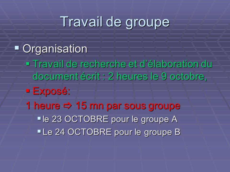 Travail de groupe Organisation Organisation Travail de recherche et délaboration du document écrit : 2 heures le 9 octobre, Travail de recherche et dé