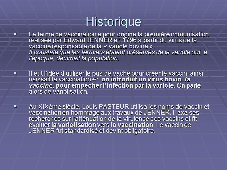 Historique Le terme de vaccination a pour origine la première immunisation réalisée par Edward JENNER en 1796 à partir du virus de la vaccine responsa