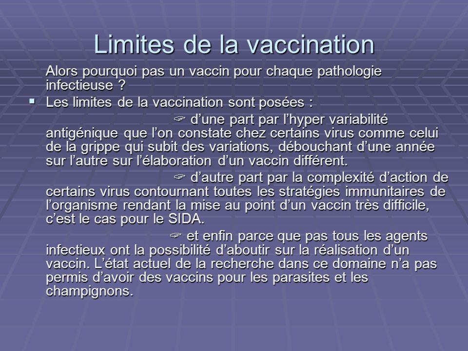 Limites de la vaccination Alors pourquoi pas un vaccin pour chaque pathologie infectieuse ? Les limites de la vaccination sont posées : Les limites de