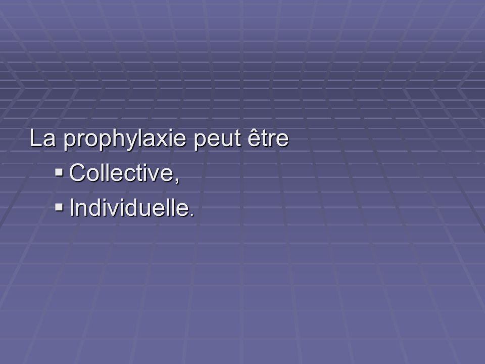 La prophylaxie peut être Collective, Collective, Individuelle. Individuelle.