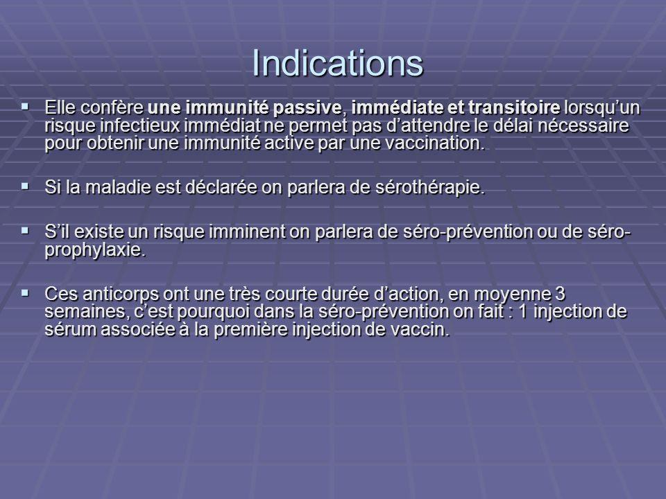 Indications Indications Elle confère une immunité passive, immédiate et transitoire lorsquun risque infectieux immédiat ne permet pas dattendre le dél