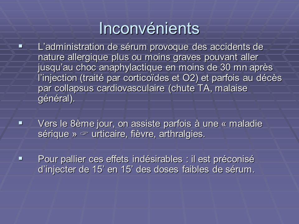Inconvénients Ladministration de sérum provoque des accidents de nature allergique plus ou moins graves pouvant aller jusquau choc anaphylactique en m