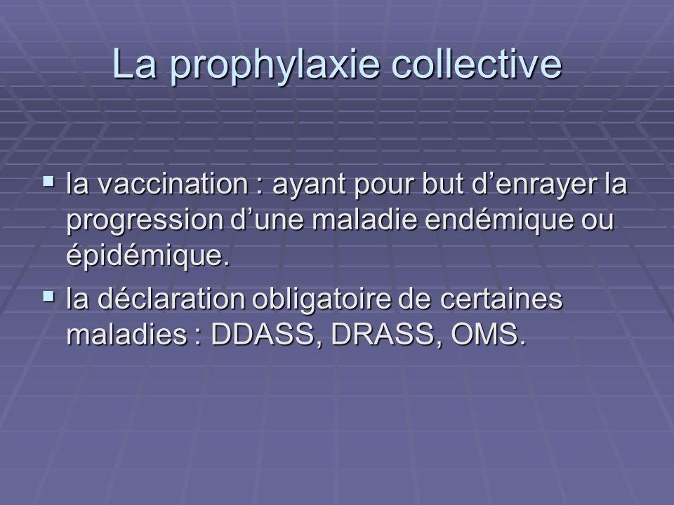 La prophylaxie collective la vaccination : ayant pour but denrayer la progression dune maladie endémique ou épidémique. la vaccination : ayant pour bu