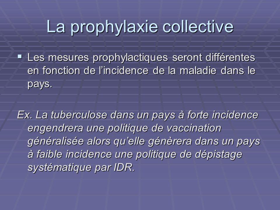 La prophylaxie collective Les mesures prophylactiques seront différentes en fonction de lincidence de la maladie dans le pays. Les mesures prophylacti