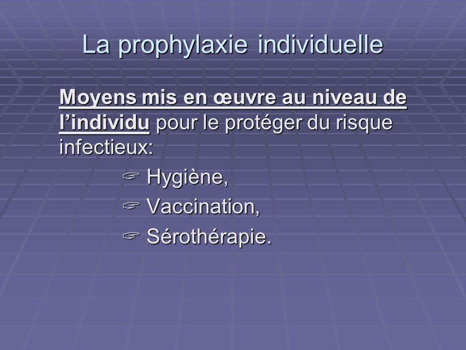 La prophylaxie individuelle Moyens mis en œuvre au niveau de lindividu pour le protéger du risque infectieux: Hygiène, Hygiène, Vaccination, Vaccinati
