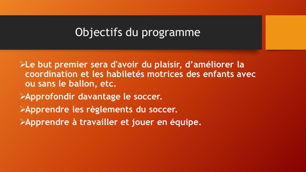 Objectifs du programme Le but premier sera d'avoir du plaisir, daméliorer la coordination et les habiletés motrices des enfants avec ou sans le ballon