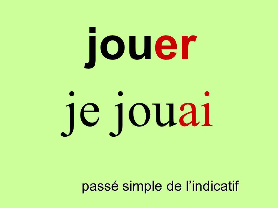 jouer passé simple de lindicatif